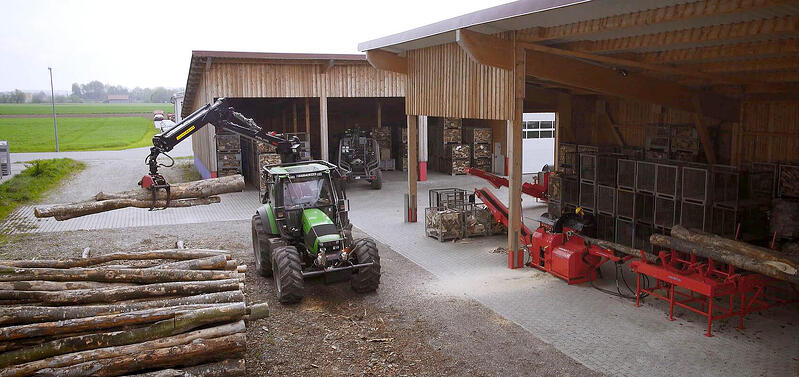 Placing your firewood processor in a shed keeps it protected from the weather.